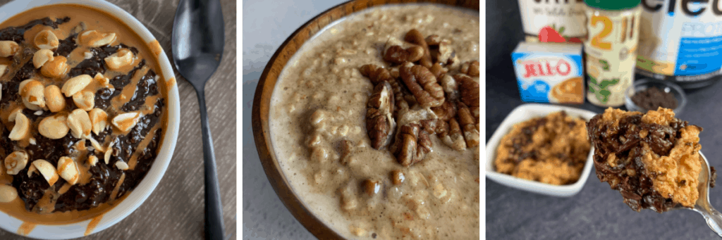 snickers, butterfinger, and carrot cake protein oatmeal