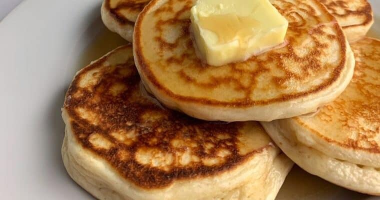 protein powder pancakes with butter and syrup