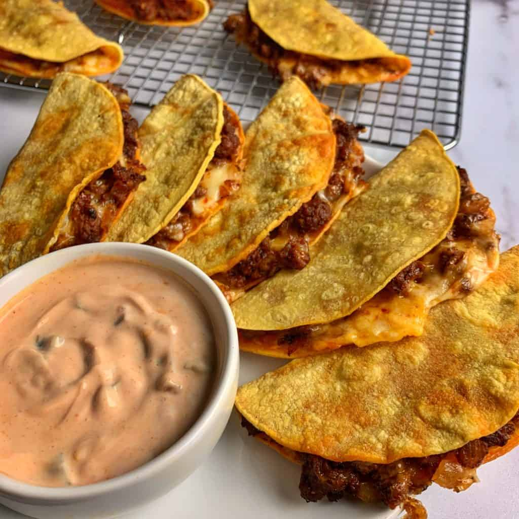 creamy salsa dip for cheesy beef oven baked tacos