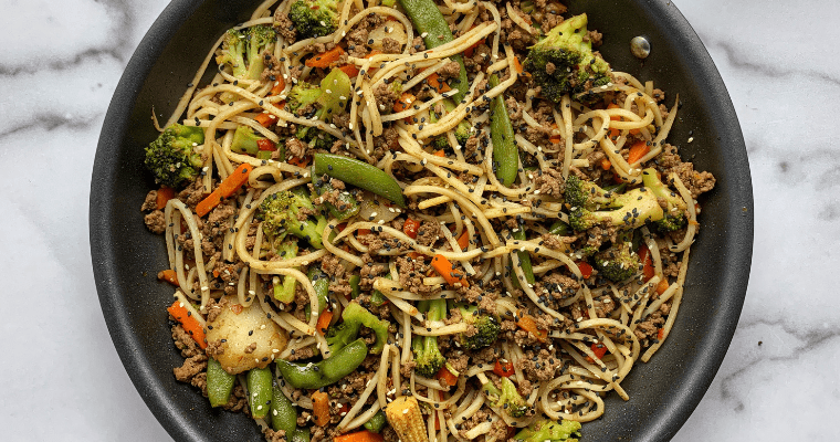Five Spice Ground Beef Stir Fry with Noodles
