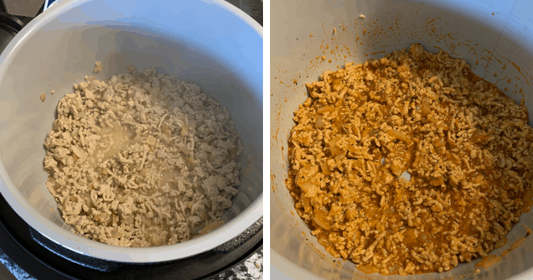 cooking the buffalo ground chicken for buffalo chicken bites