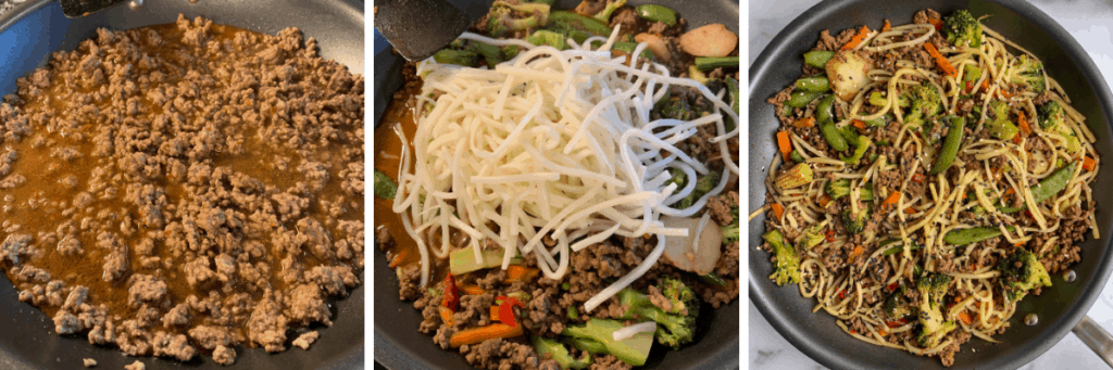 the steps to making the ground beef stir fry with noodles