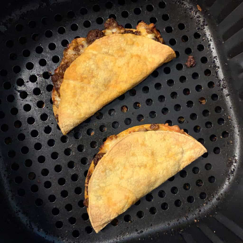 reheating the oven baked tacos in an air fryer