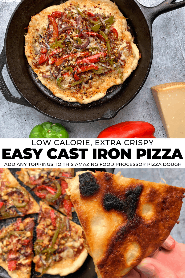 Turn boring 2 ingredient pizza dough into one of the best homemade pizzas you've ever made! This cast iron pizza has the perfect crust and is loaded with veggies and a delicious blend of cheeses. Recipe includes a video tutorial and full nutrition breakdown with macros and WW SmartPoints.