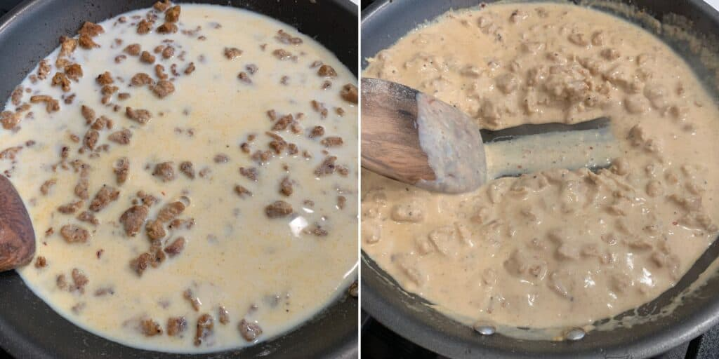 reducing the milk to make the healthy sausage gravy