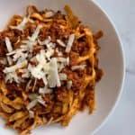 fettuccine bolognese high protein pasta recipe