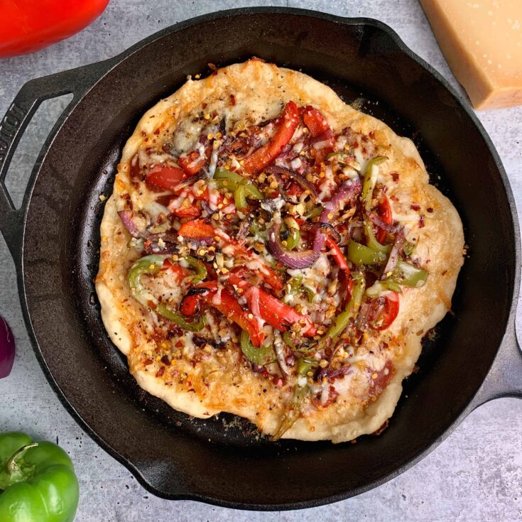 Cast Iron Pizza with 2 Ingredient Pizza Dough