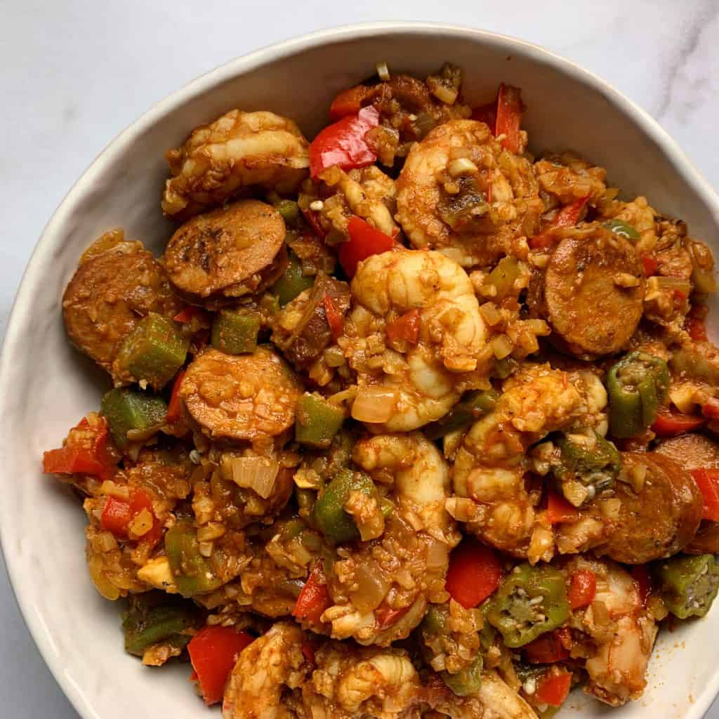 healthy low carb jambalaya with cauliflower rice and shrimp