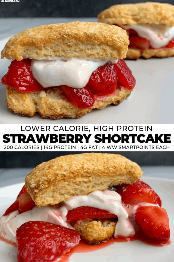 This healthy strawberry shortcake recipe sandwiches strawberries in a sugar free syrup and high proteinwhipped creambetween sweet Greek yogurt biscuits. Each strawberry shortcake has 14 grams of protein with just 4 grams of fat, 200 calories, and 4 Weight Watcher SmartPoints.