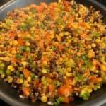 veggie stir fry in the skillet for meal prep bowls