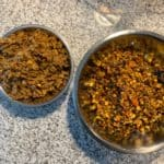 cook veggie stir fry and taco beef mixture for taco meal prep bowls