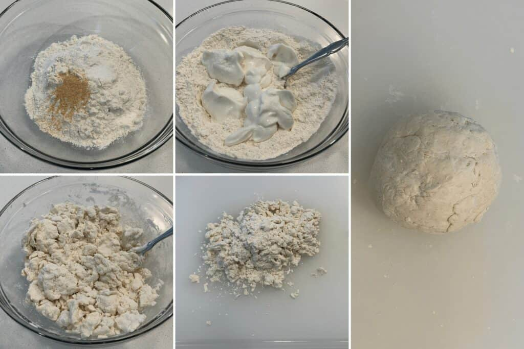 dry ingredients mixed with fat free Greek yogurt before and after working together to form pizza dough