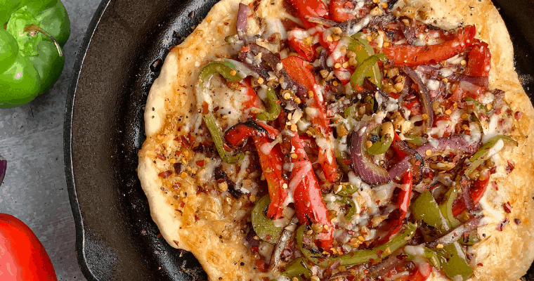 Healthy Cast Iron Pizza with 2 Ingredient Pizza Dough