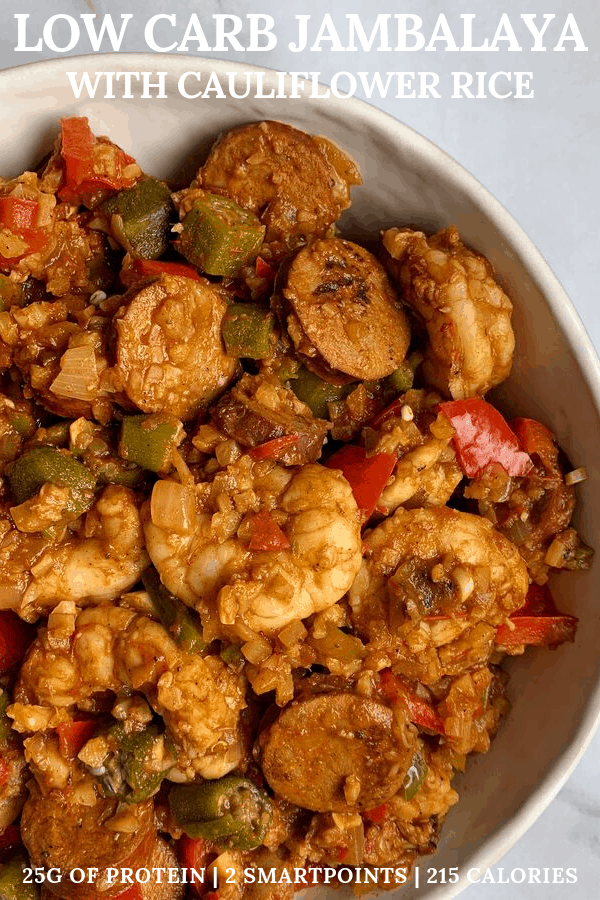A super filling recipe for low carb jambalaya made with chicken sausage and shrimp. Every massive serving is packed with 25 grams of protein and just 215 calories!