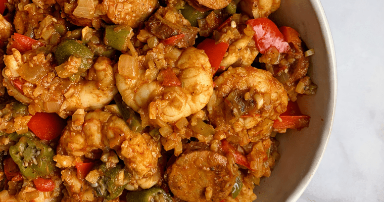 low carb shrimp jambalaya with cauliflower rice