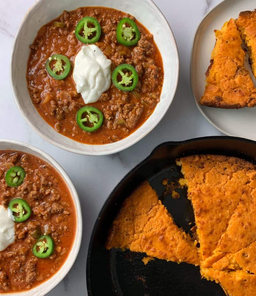 spicy tomato beef soup with cornbread