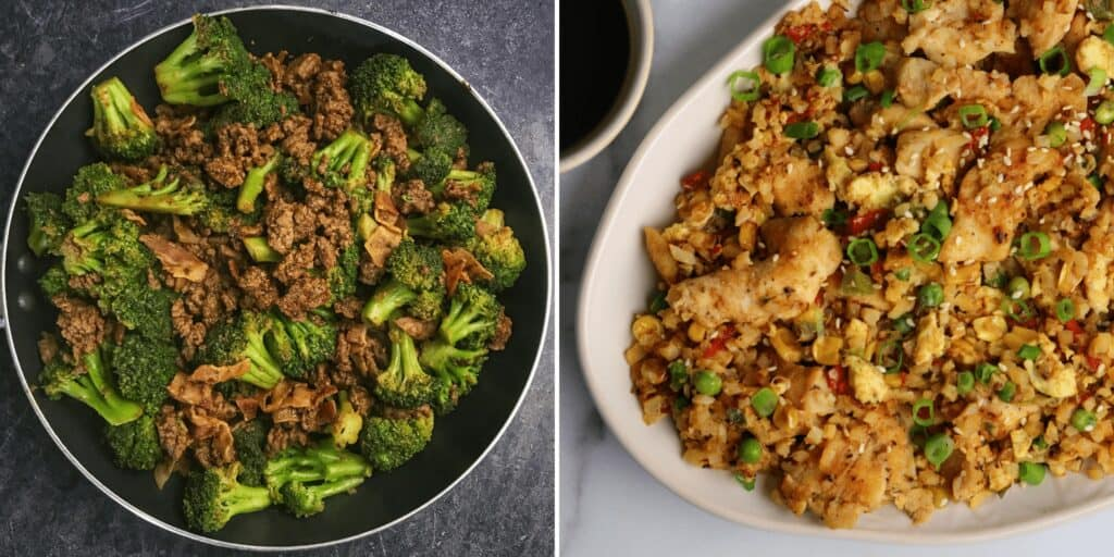 sticky sweet ground beef and broccoli with chicken fried cauliflower rice