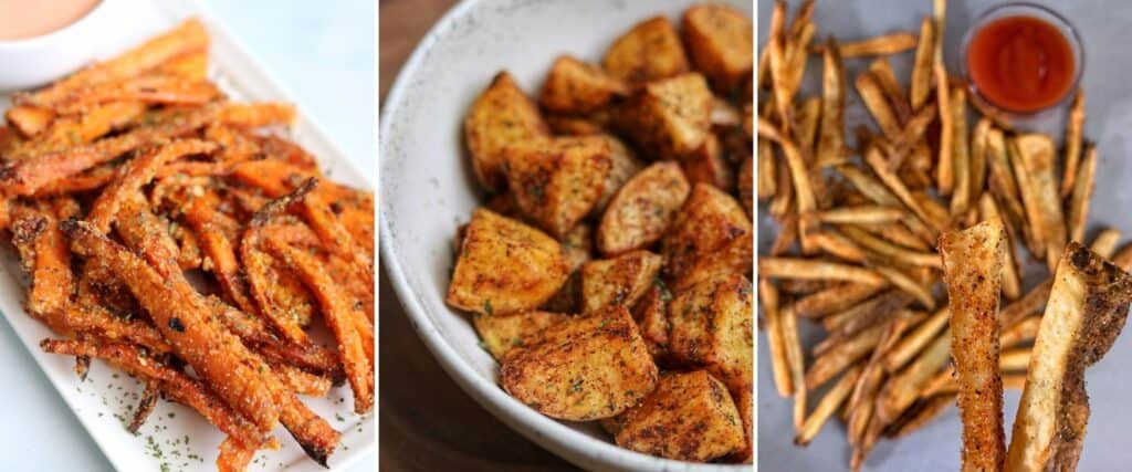 carrot fries, mexican potatoes, and wingstop fries