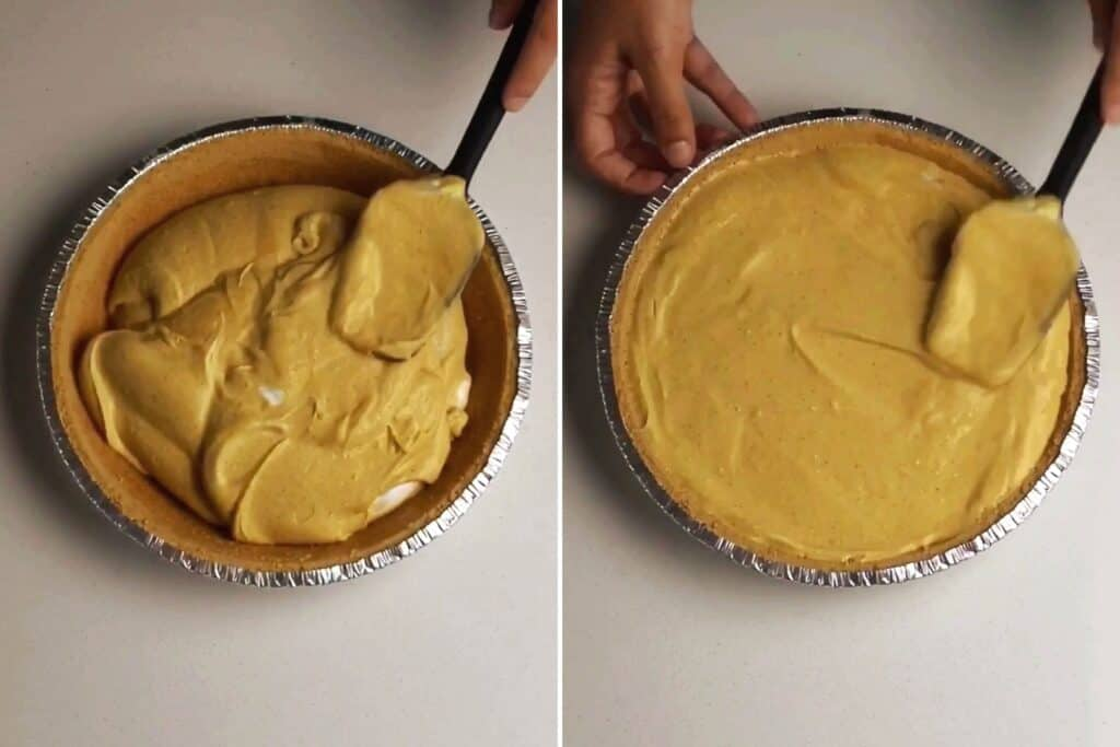 filling the pie crust with the pumpkin pie protein cheesecake filling