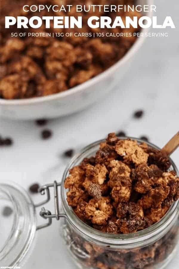You'll love this crunchy butterscotch and peanut butter granola that's coated in melted chocolate! Every serving has 5 grams of protein and nearly half the carbs of traditional protein granola!