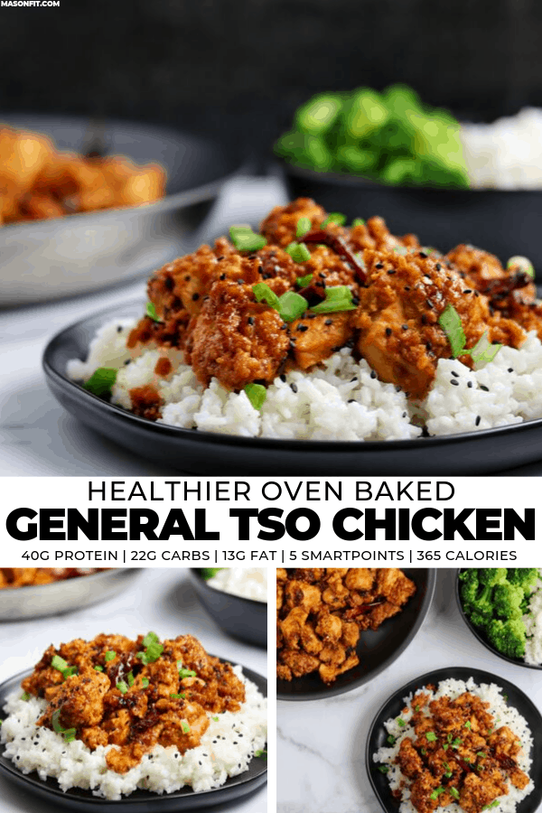 A healthier spin on the classic American Chinese takeout favorite—General Tso Chicken. The recipe pairs crispy oven baked chicken with a deliciously spicy sauce to create 4 massive servings with 40 grams of protein and just 365 calories each!