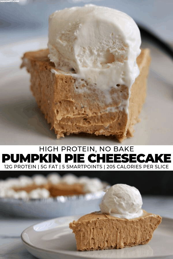 Level up your fall dessert game with this super easy pumpkin pie cheesecake. The recipe takes about 10 minutes to prep and every extra creamy slice has 12 grams of protein with just 5 grams of fat!