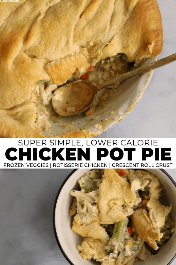 An easy crescent roll chicken pot pie made with simple ingredients like rotisserie chicken, frozen veggies, canned soup, and reduced fat crescent rolls. Each serving has 22g of protein with just 275 calories and 5 Smart Points.