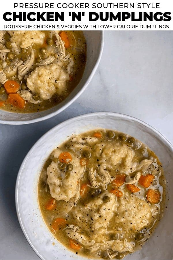 A simple chicken and vegetable soup with a healthier spin on dumplings. You can make it in a pressure cooker or on the stovetop, and every massive serving has just 280 calories!