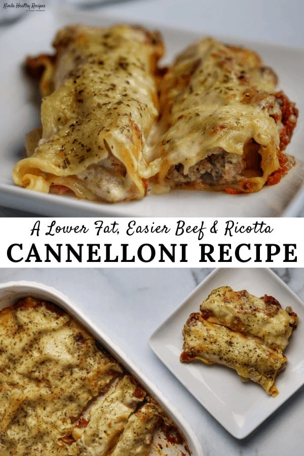 A healthier, easier cannelloni recipe with ground beef and ricotta stuffed lasagna shells baked in a blend of marinara, alfredo sauce, and parmesan.