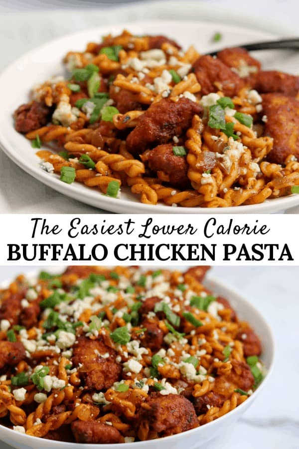 One of the easiest buffalo chicken pasta recipes you'll find thanks to lightly breaded frozen chicken, chickpea pasta, and a 4-ingredient DIY buffalo sauce.