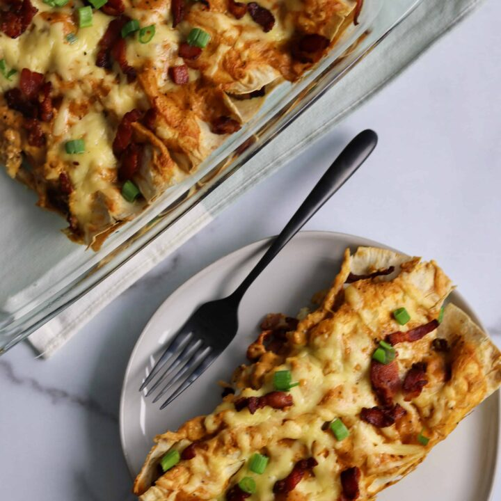healthier bacon gouda breakfast enchiladas recipe