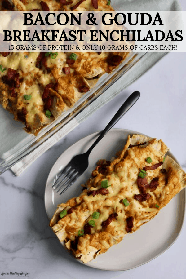 These breakfast enchiladas stuff center cut bacon and egg whites inside low carb flatbreads and are smothered in a gouda cheese sauce. They're so rich and creamy, you'll never believe each one has 15 grams of protein with just 190 calories and 3 WW SmartPoints!
