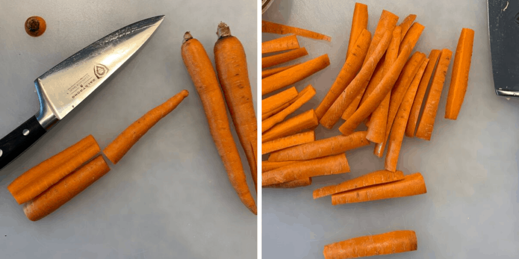 cutting carrots for fries