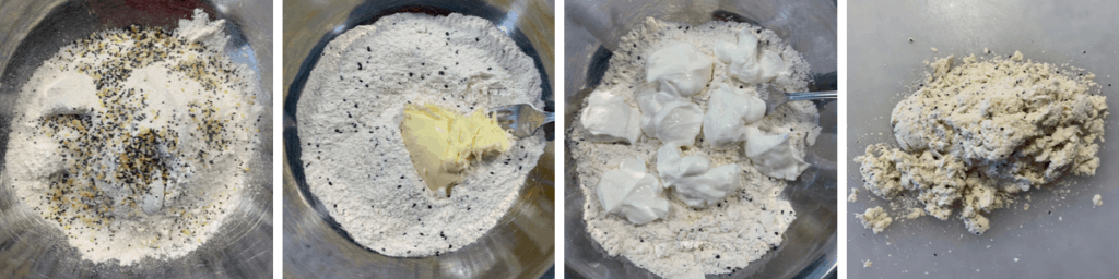 process of taking dry ingredients to biscuit dough before forming