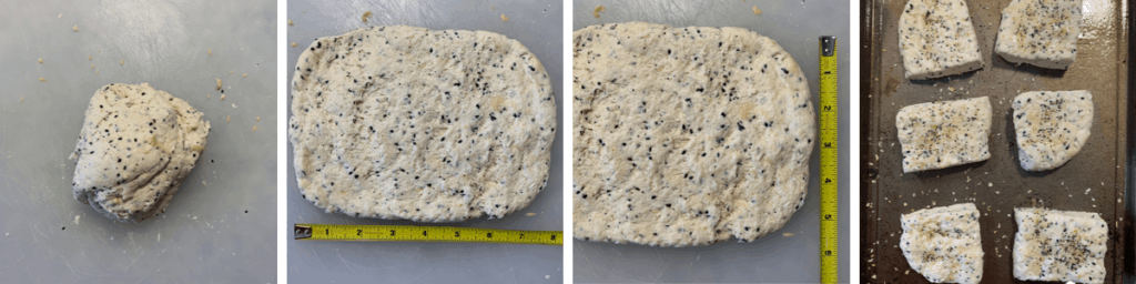 everything bagel biscuit dough after forming and pressing into a rectangle to cut individual biscuits
