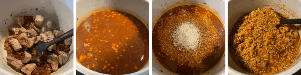 cooking the rice in the finished Texas chili