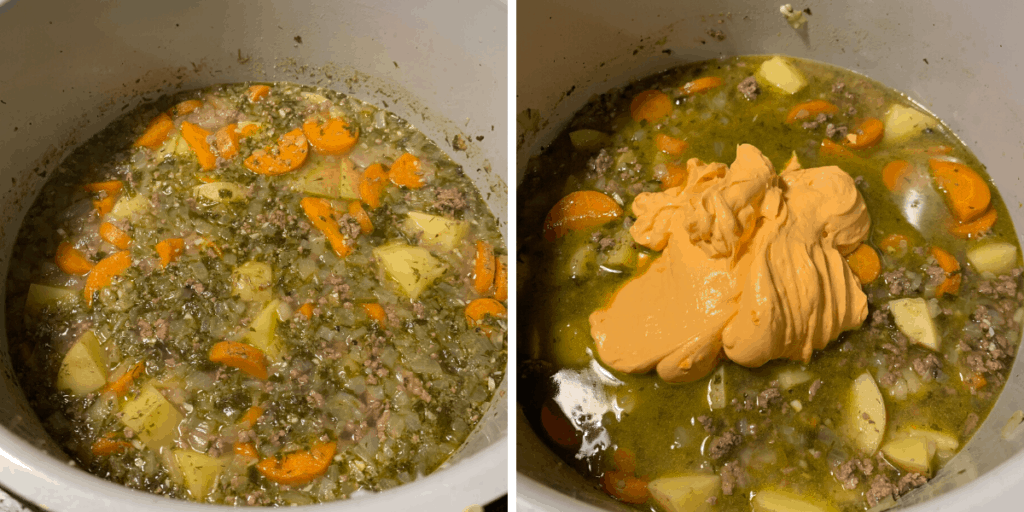 cheeseburger soup after pressure cooking and with the cheese sauce before mixing