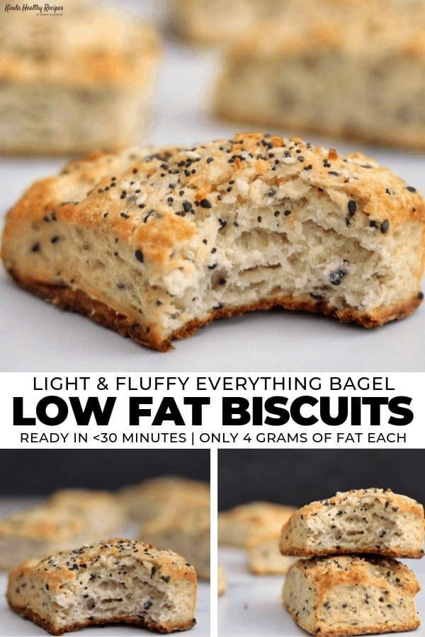 A simple, one-bowl recipe for light and fluffy everything bagel biscuits. Each biscuit is packed with the onion, garlic, and sesame flavor you expect from everything bagels and has just 4 grams of fat!