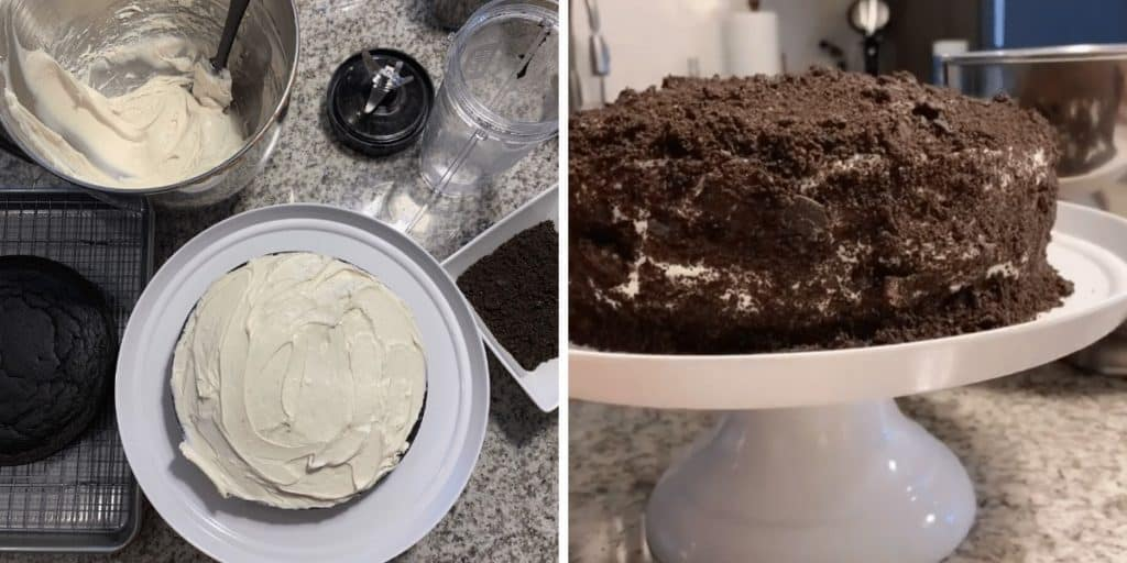 adding the frosting and crushed oreos to the cake