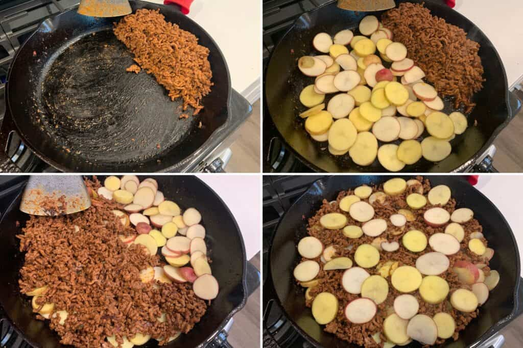 adding the potatoes to the skillet with the cooked ground beef