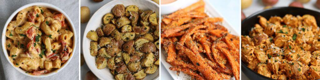 cajun mac and cheese, rosemary parmesan potatoes, carrot fries, and cheesy air fried potatoes
