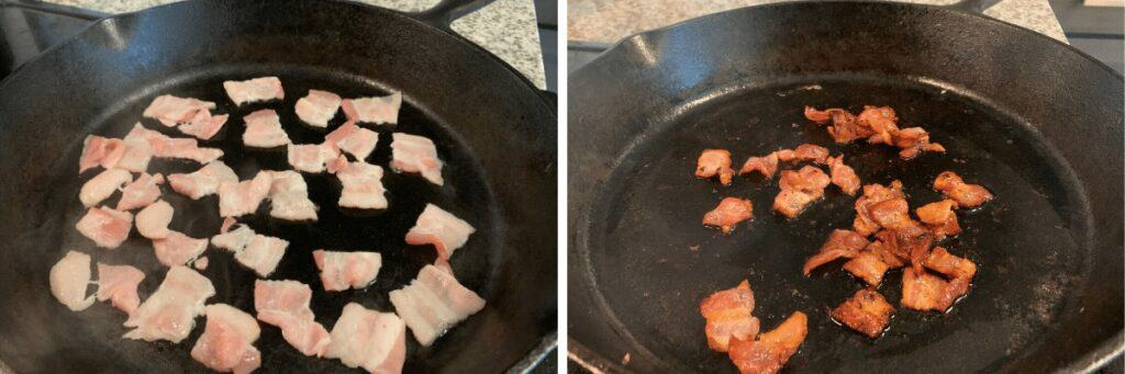 cooking bacon in the cast iron skillet