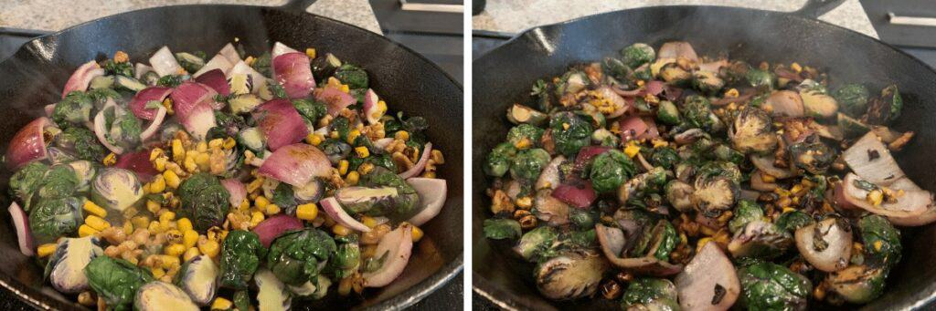 before and after cooking the vegetables in the bacon grease