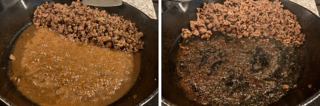 before and after cooking off excess liquid in the ground beef