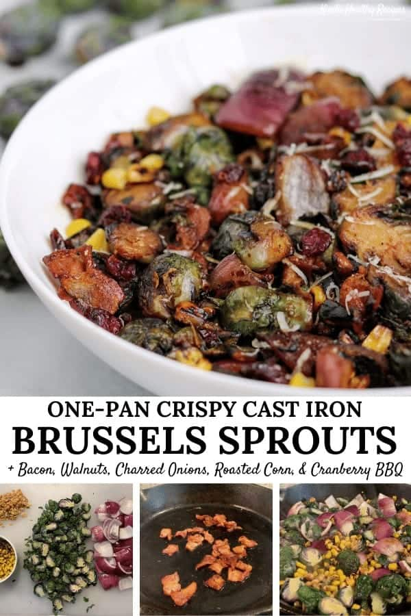 You'll love these crispy cast iron brussels sprouts. They're cooked with bacon, charred onions and corn, walnuts, cranberries, BBQ sauce, and pecorino. Even brussels sprouts haters won't deny their amount of diggity!
