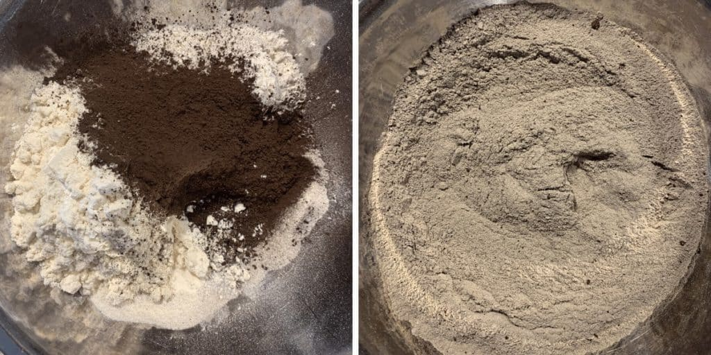 dry ingredients before and after mixing