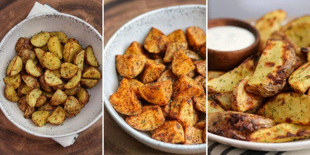 greek potatoes, mexican potatoes, and ranch potatoes