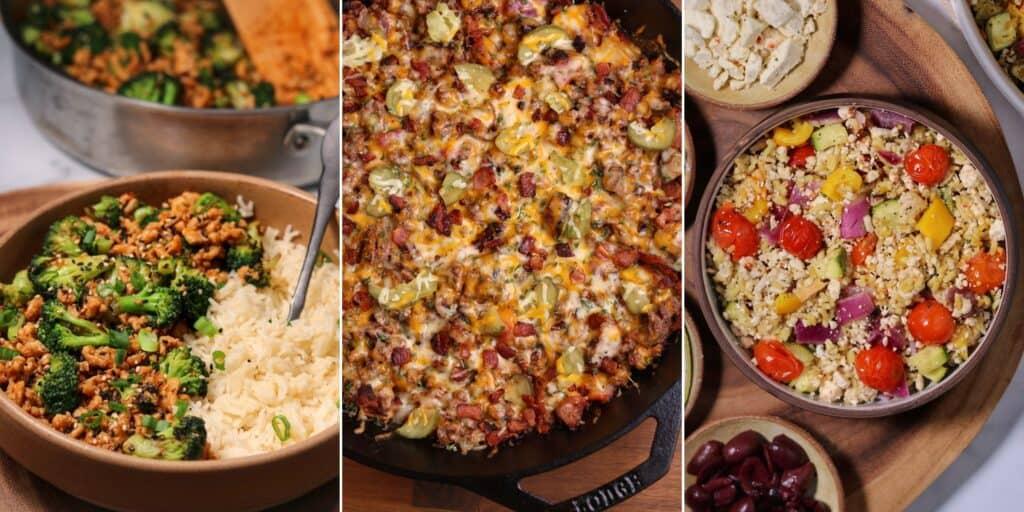 ground chicken and broccoli, cheeseburger skillet, and Greek ground chicken and veggie bowls