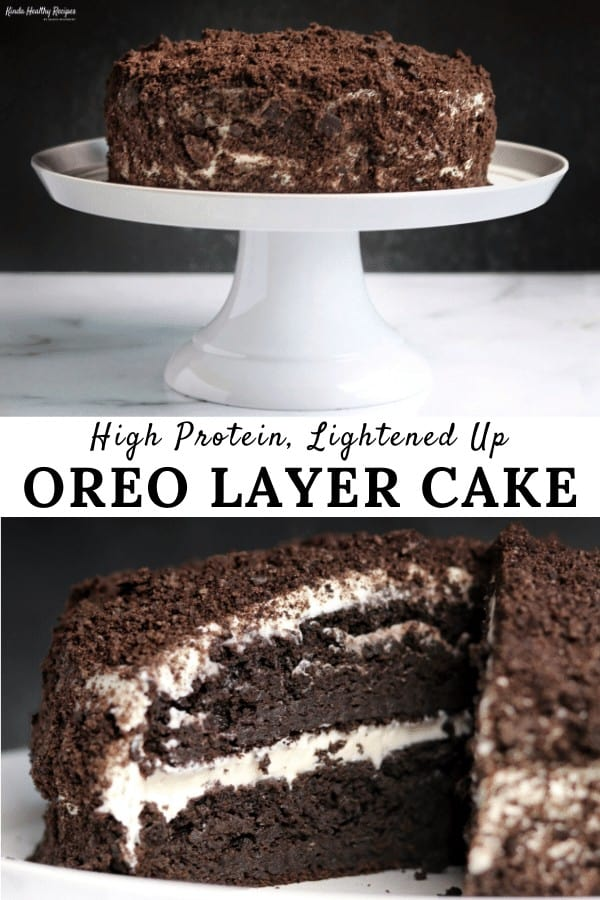 two photos of chocolate protein cake with a title banner in the center
