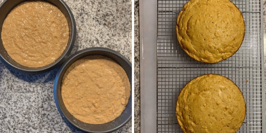 protein carrot cake batter in cake pans before baking beside two baked carrot cakes on a cooling rack